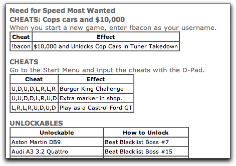 Need for speed most wanted pc cheats and hints.