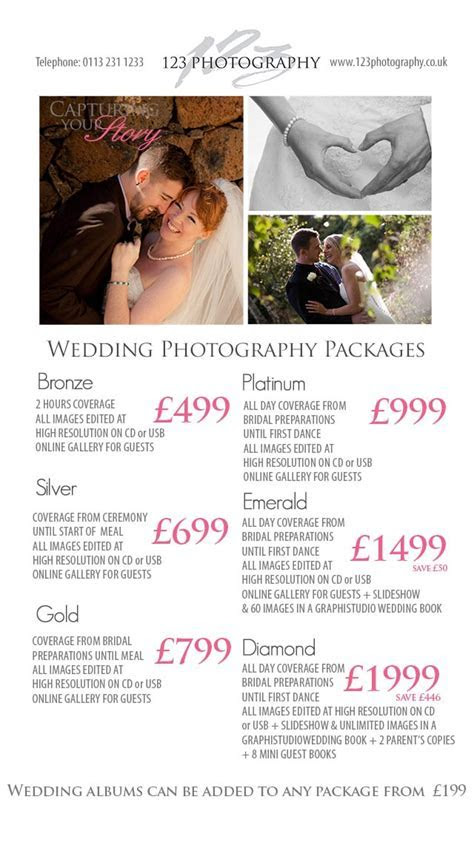 Wedding Photography Prices Leeds, photographer prices