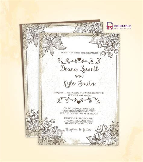 make your own wedding invitation template free