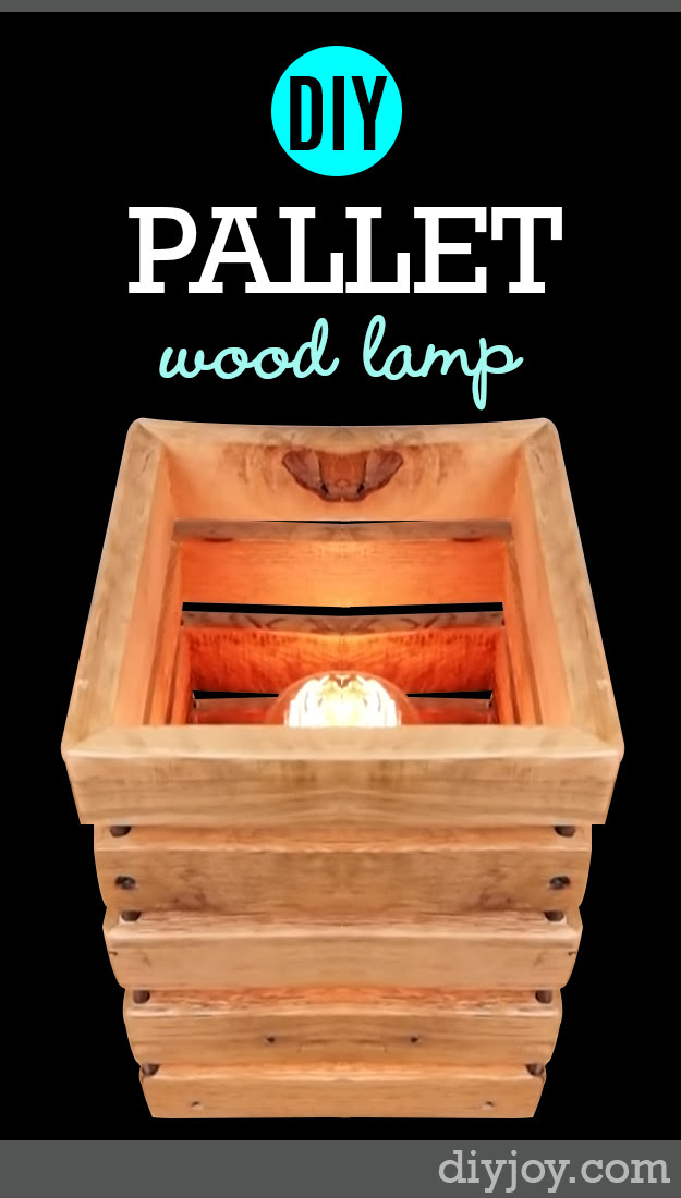 DIY Pallet Furniture Ideas - Pallet Wood Lamp - Best Do It Yourself Projects Made With Wooden Pallets - Indoor and Outdoor, Bedroom, Living Room, Patio. Coffee Table, Couch, Dining Tables, Shelves, Racks and Benches http://diyjoy.com/diy-pallet-furniture-projects
