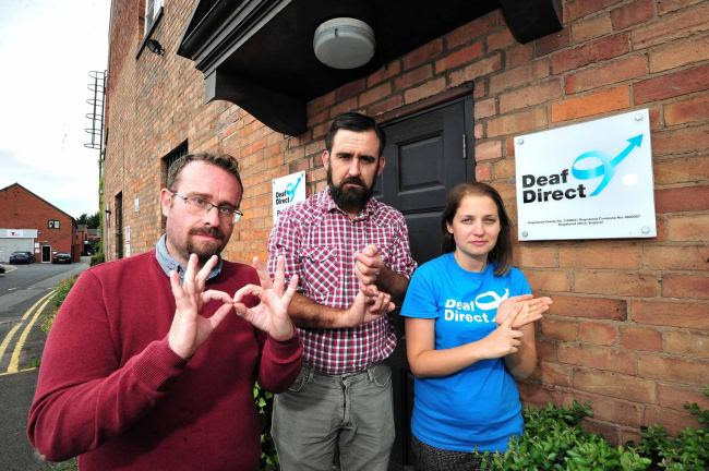 MESSAGE: Staff at Deaf Direct, in Lowesmoor, Worcester. (From the left) Paul Scott, Paul Challinor and Hannah Cooper