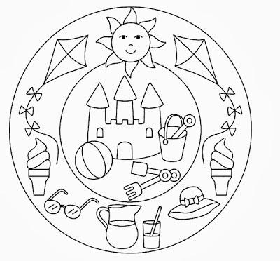 Okulönceci Anne Yaz Mevsimi Konulu Mandala Boyamalar