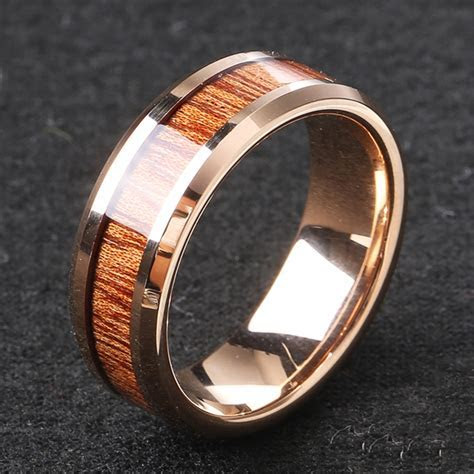 Classic 8mm Tungsten Carbide Ring Wood High Hardness