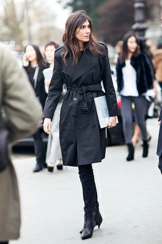 Le Fashion Blog Street Style Emmanuelle Alt Trench Coat Black Cuffed Jeans Lace Up Kitten Heel Boots Via Stockholm Streetstyle