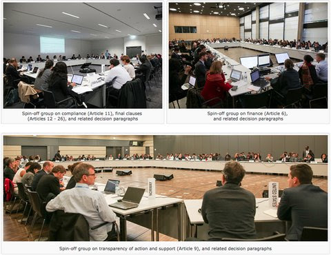 """Snapshots of negotiators who<a href=""""http://www.iisd.ca/climate/unfccc/adp2-11/"""">split into groups</a>in climate talks in Bonn, Germany, to address contested details in a draft climate agreement ahead of final talks in Paris late in the year."""