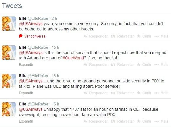 Tweets enviado pela cliente @ElleRafter reclamando do serviço prestado pela US AirWays (Foto: Reprodução Twitter)