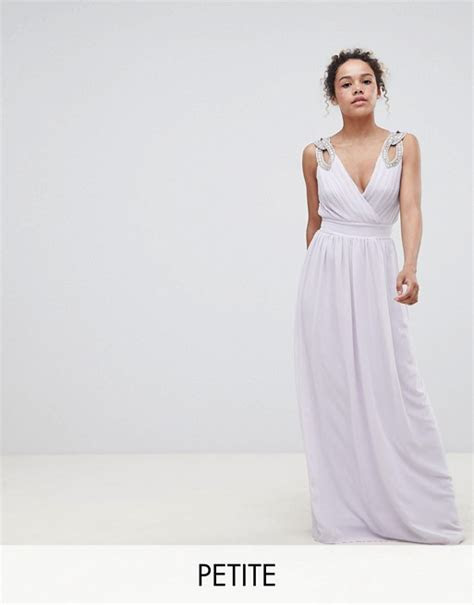 TFNC Petite WEDDING Wrap Front Maxi Dress With