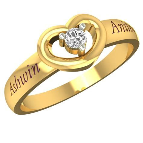 Customized Lovely Heart Gold Name Ring   Gold Rings for