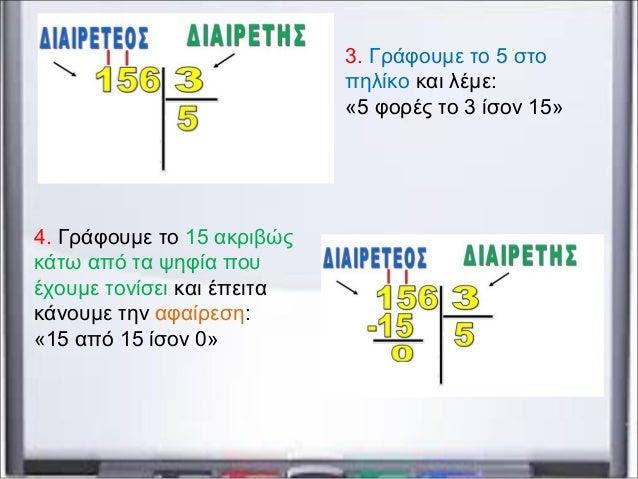 3. Γράφουμε το 5 στο πηλίκο και λέμε: «5 φορές το 3 ίσον 15» 4. Γράφουμε το 15 ακριβώς κάτω από τα ψηφία που έχουμε τονίσε...