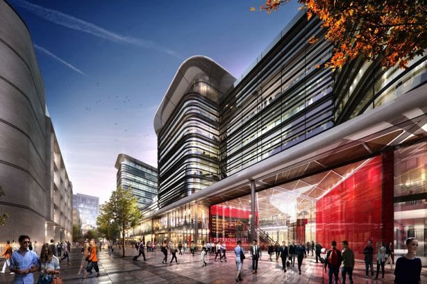 Artist's impression of the new look Cardiff bus interchange. Red area is the new entrance to the bus interchange