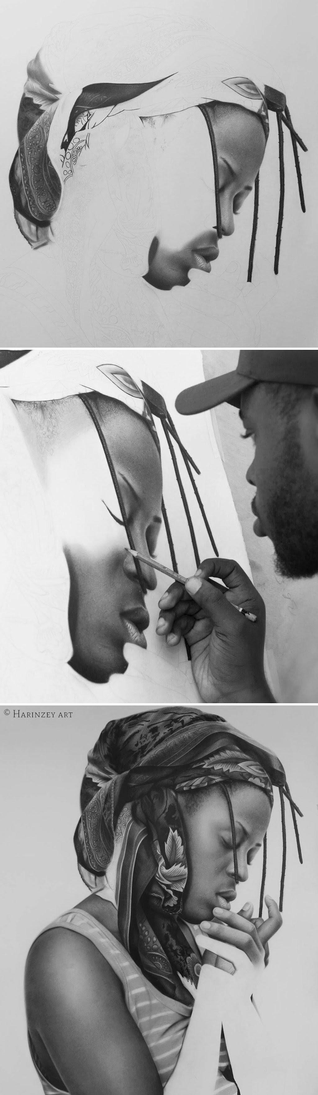 Retratos hiperrealistas de grande porte renderizados com grafite e carvão 08