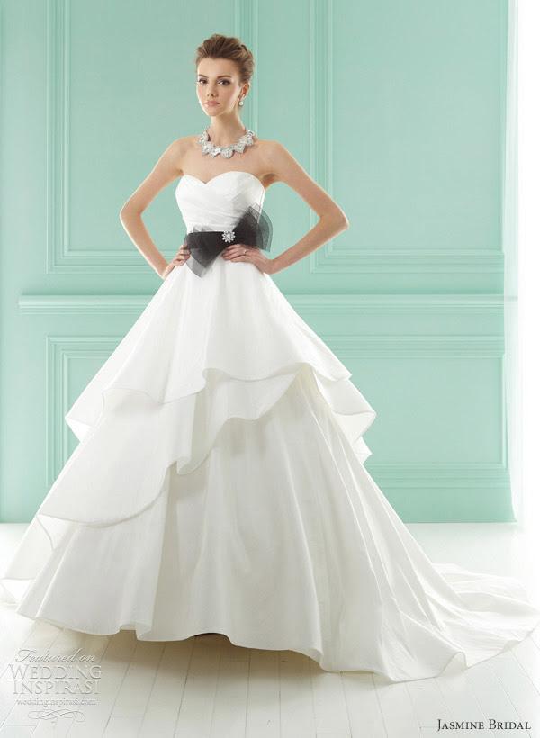 jasmine wedding gown 2012 Tiered ruffle wedding dress in Italian satin and