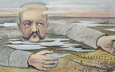 German General Paul von Hindenburg luring a Russian army into the Masurian Lakes. In the %+%Event%m%40%n%Battle of Tannenberg%-%, the Germans destroyed the Russian Second Army, killing 50,000 and taking 90,000 prisoners. The Russian First Army managed to escape the same fate in the %+%Event%m%41%n%First Battle of the Masurian Lakes%-%. The postcard was sent from France September 11, 1915. Reverse: Die masurische Falle. The Masurian trap.