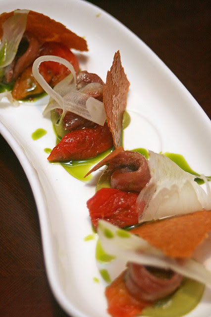 Cured Anchovies, Shaved Fennel, Tomato and Crispy Socca