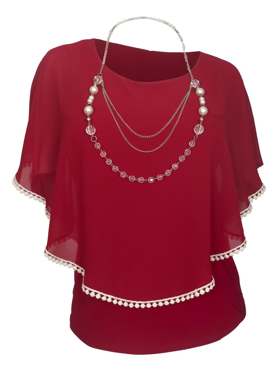 Plus Size Layered Poncho Top Crochet Trim Burgundy 1792