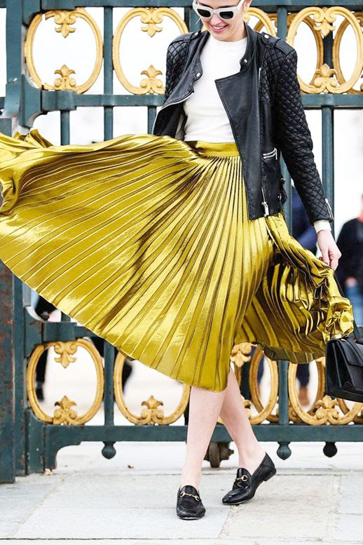 Le Fashion Blog Blogger Street Style Pfw White Sunglasses Quilted Leather Jacket Tee Metallic Gold Pleated Skirt Gucci Horsebit Detailed Leather Loafers Via Refinery29
