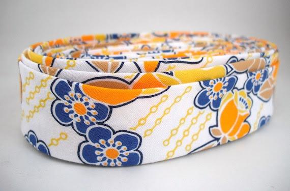 Bias Tape - Wallpaper Floral in Yellow Handmade Double Fold Bias Tape, 3 Yards