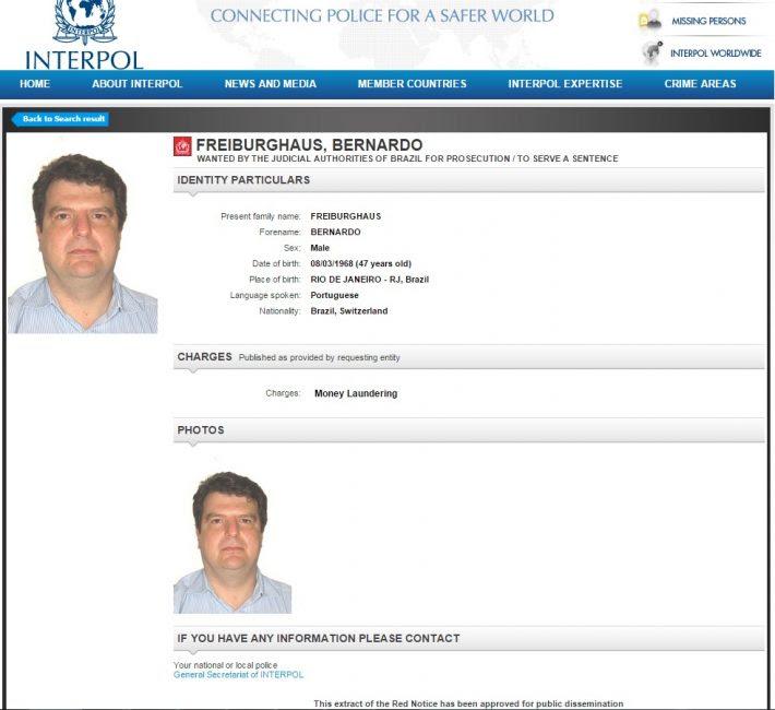 Registro de Freiburghaus na Interpol. Foto: Reprodução