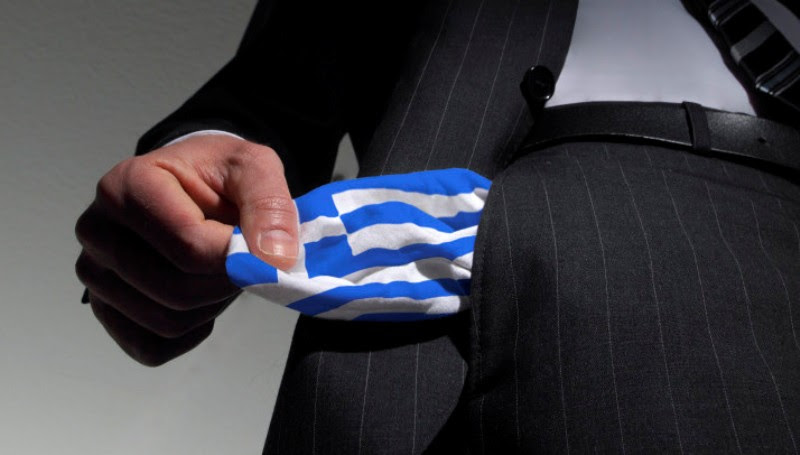 (GERMANY OUT) Symbolic photo: national bankruptcy of Greece, high taxes, Man in a suit with empty pockets in the national colours of Greece  (Photo by Classen/ullstein bild via Getty Images)