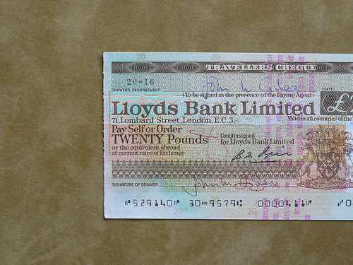 Lloyds Bank Travellers Cheque
