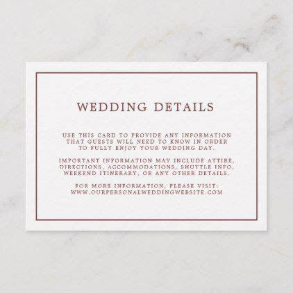 Simple Burgundy Border   Wedding Details Enclosure Card