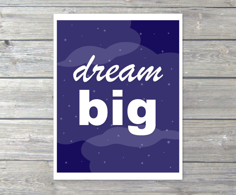 Dream Big Typography Digital Print Cloud Stars Wall by AldariArt