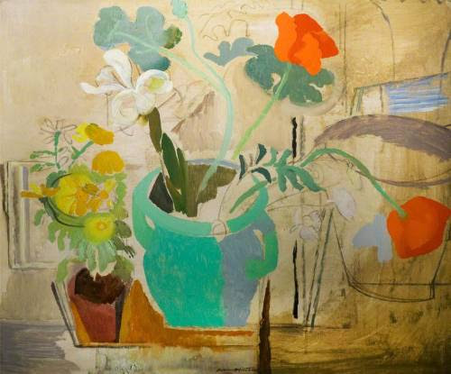 cacaotree:  Ivon Hitchens Poppies in a Green Bowl