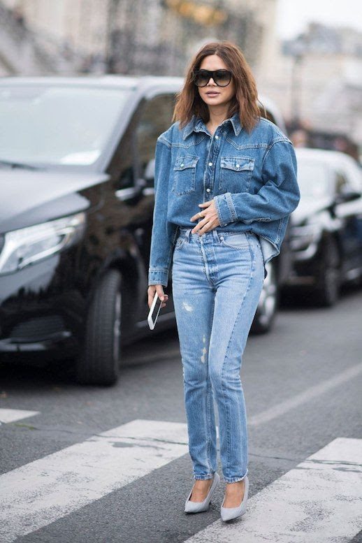 Le Fashion Blog Black Sunglasses Denim Jacket Straight Leg Jeans Suede Heels Denim on Denim Christine Centenera Via Stylecaster