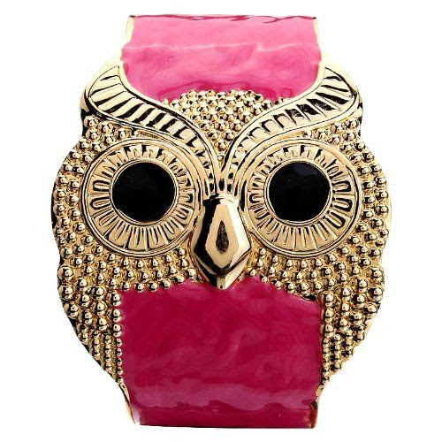PINK OWL CUFF BRACELET: Yazilind Cute Owl Shape Gold Plated Black Eye Pink Cuff Bracelet Pink Alloy Wide:2.0In Adjustable: Jewelry