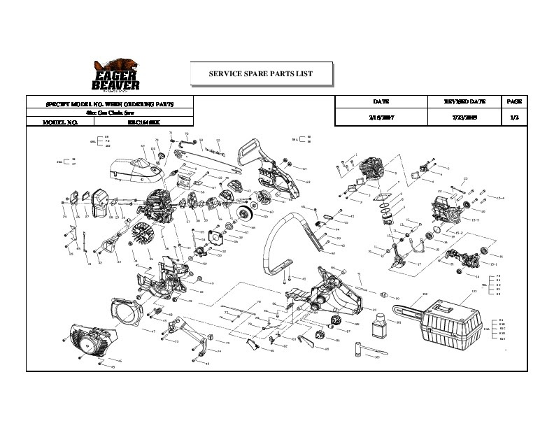 35 Eager Beaver 20 Chainsaw Parts Diagram Manual Guide