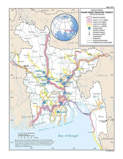 bangladesh inland water transport map