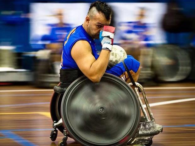 Cadeirante Daniel Gonçalves pratica rugby há 2 anos. (Foto: Joon Ho Kim)