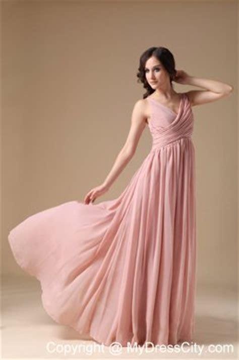 Elegant Peach Pink V neck Chiffon Ruched Maid of Honor