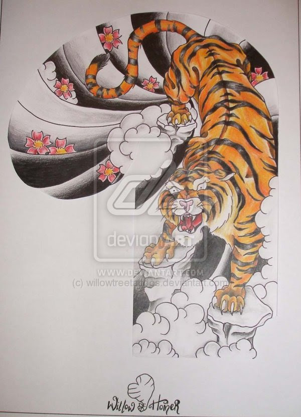 Color Japanese Tiger Tattoo Design