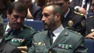 A la dreta, el tinent coronel de la Guàrdia Civil Daniel Baena, aquest dimarts a Barcelona