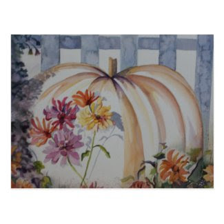 Pumpkin watercolor post card