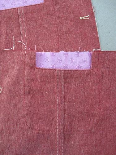 Red denim jacket pocket 1