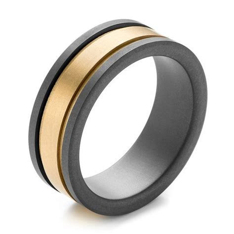 Tungsten and Yellow Gold Men's Wedding Band   Joseph