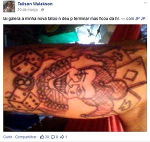Preso também mostra tatuagem feita na perna: 'minha nova tatoo', diz ele (Foto: Reprodução/Facebook)