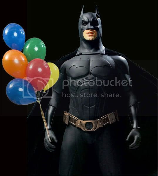 Batman brings balloons to the party