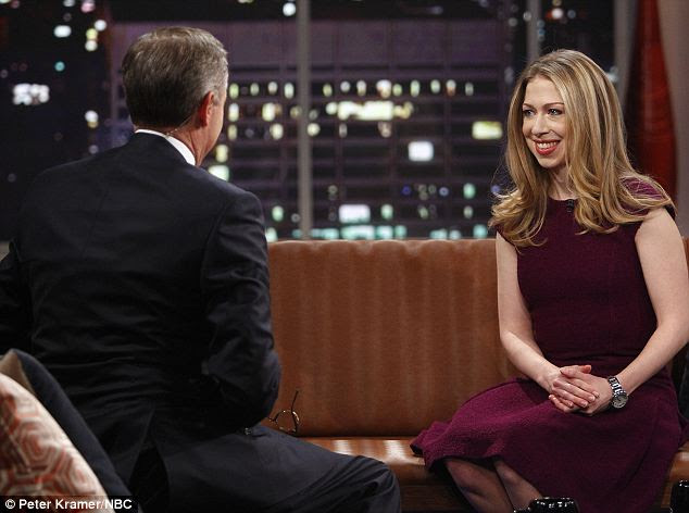 Peacock pay up: Chelsea Clinton started working for NBC in 2011 and making segments for the now-defunct Rock Center with Brian Williams (pictured) but her most recent contribution aired in January