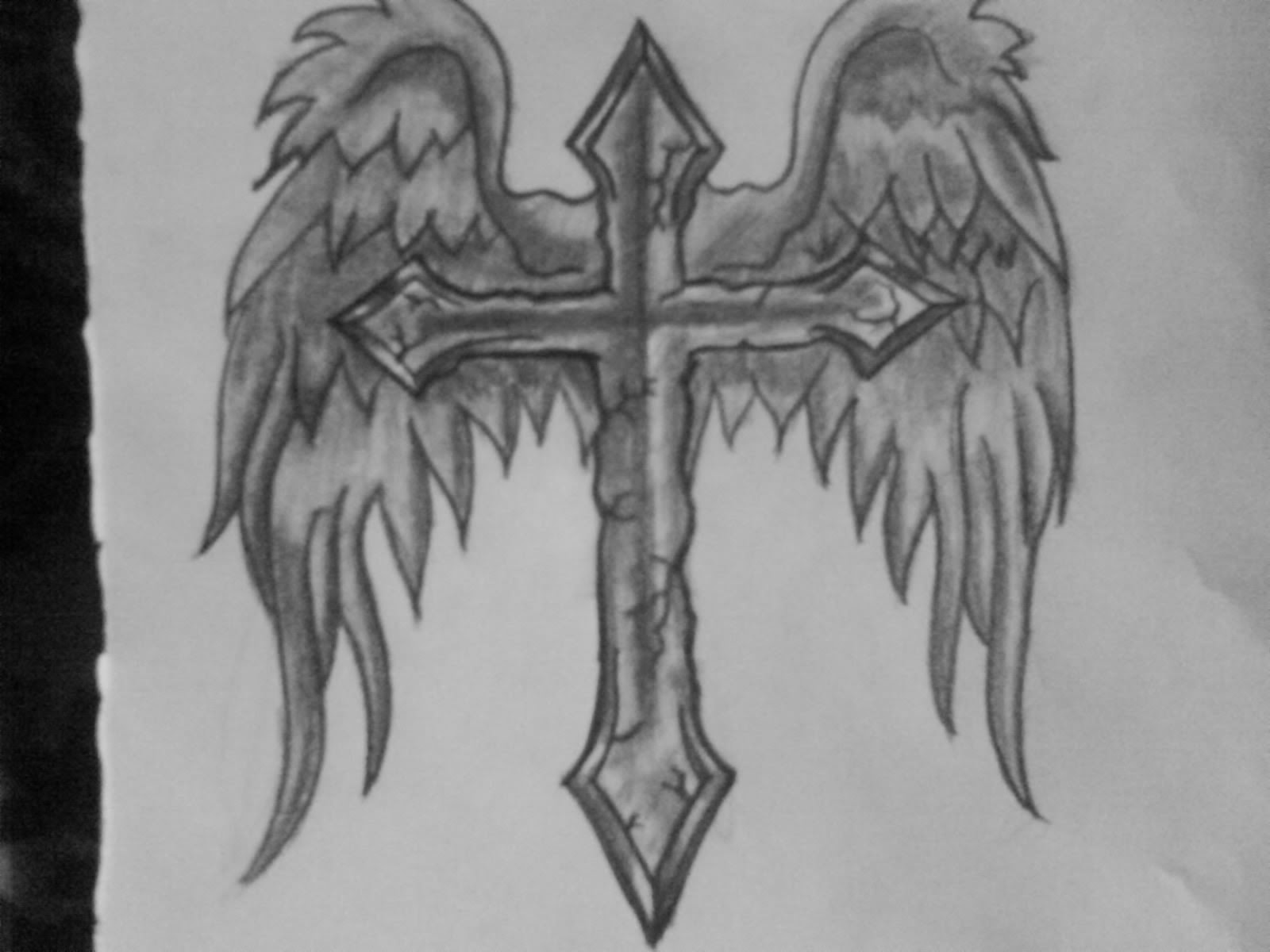 Angel Wings Cross Tattoo Design