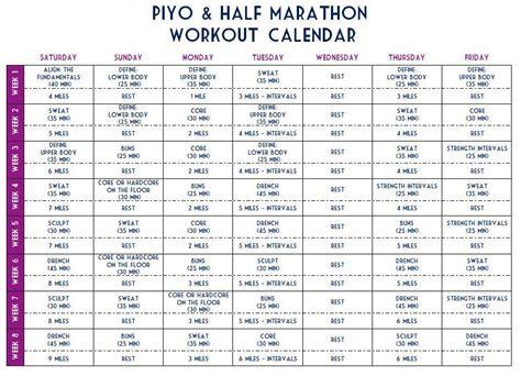 piyo  marathon challenge workout sheet