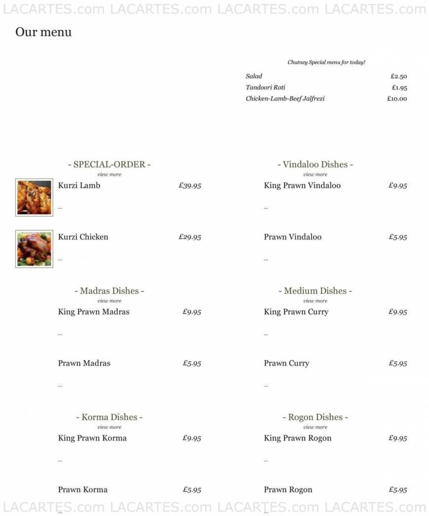 1 of 3 Price Lists & Menus – Chutney High Wycombe Authentic Indian