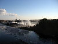 Sound water coming over Soundside Drive near Jockey's Ridge