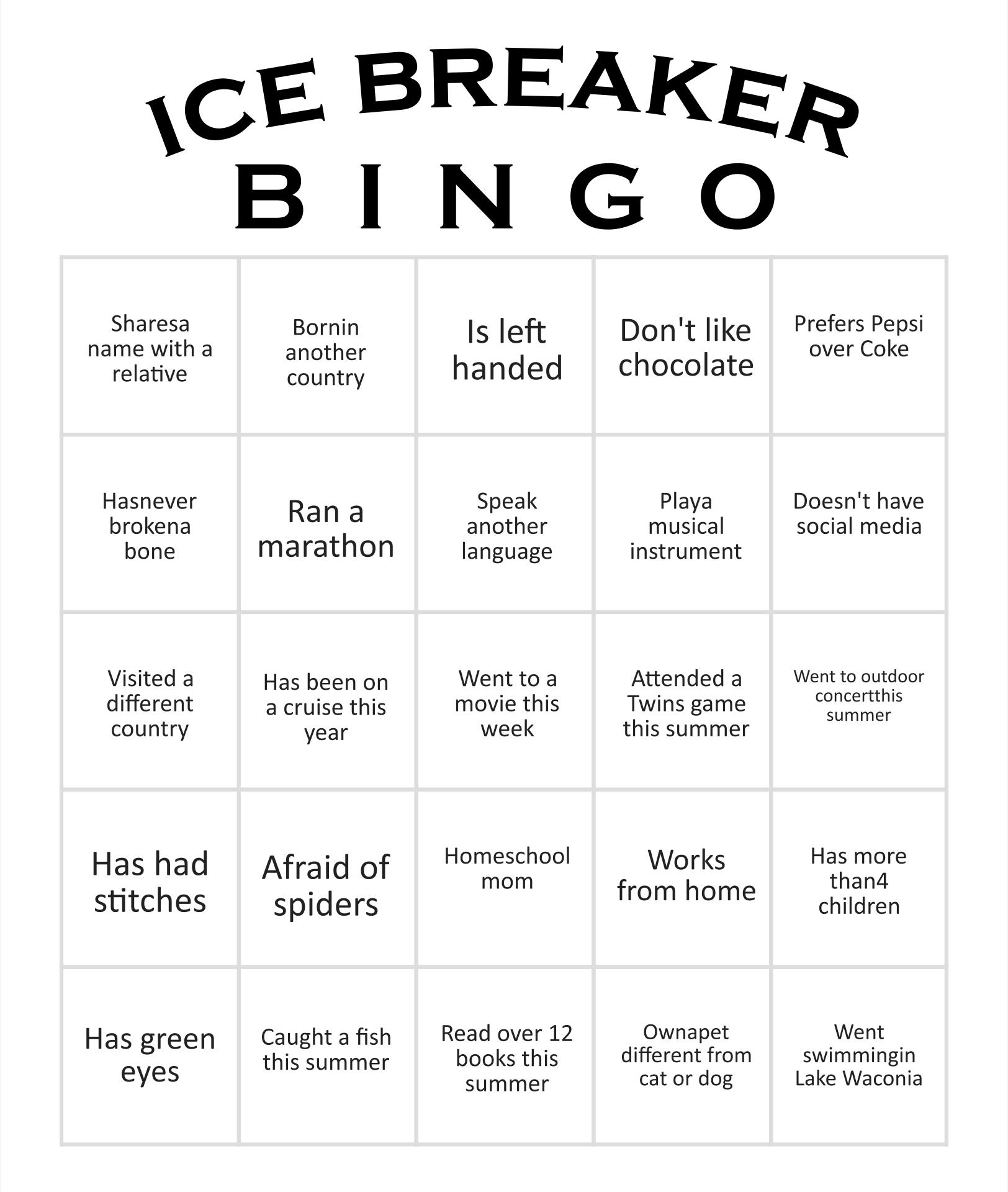 Bingo card sample