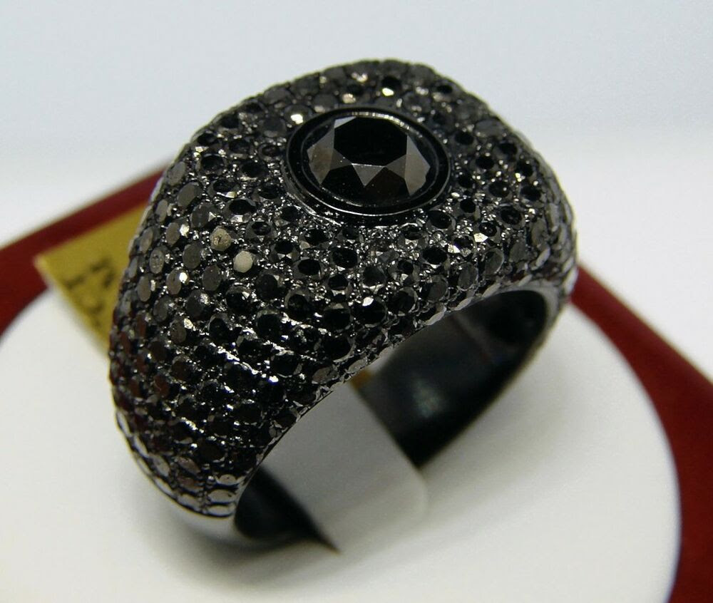 c13517f02a09b Mens Black Diamonds Solitaire Pinky Ring 7.67 Ct eBay