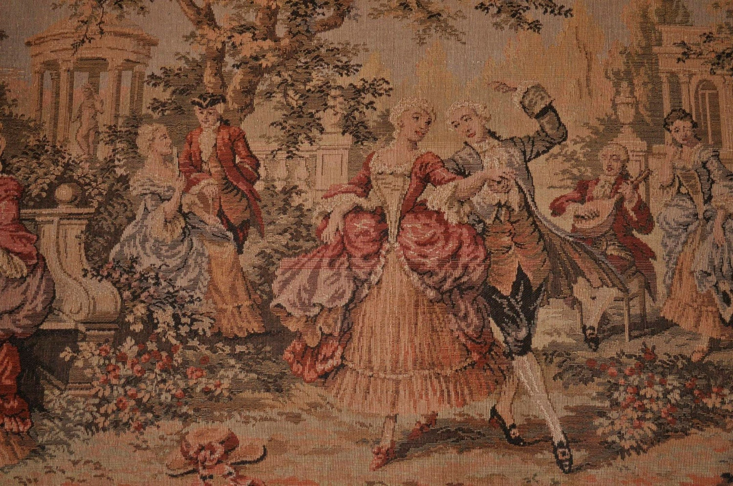 Vintage Belgian Victorian Style Tapestry Wall Hanging