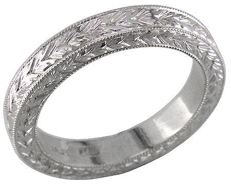 Gentleman's Engraved Wedding Band   Bijoux Extraordinaire