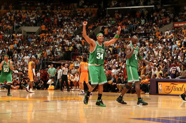 Paul Pierce celebrates after the Boston Celtics come back from a 24-point deficit to win, 97-91, in Game 4 at Staples Center on June 12, 2008.